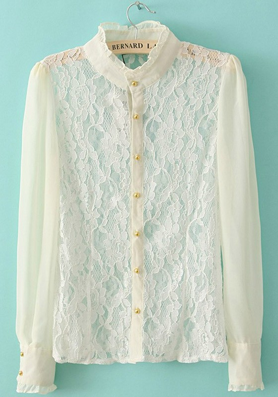 White Long Sleeve Lace Blouse 57