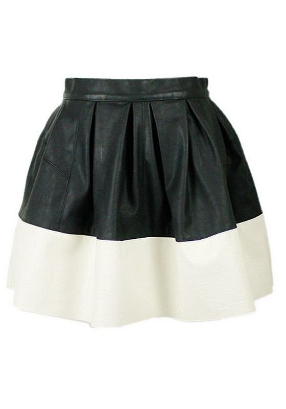 Multicolor Patchwork High Waist Mini PU Leather Skirt