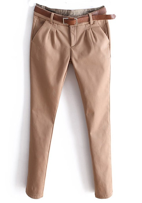 Khaki Low Waist Long Skinny Cotton Leggings