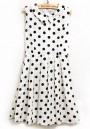 Black Polka Dot Lapel Sleeveless Above Knee Dress