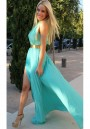 Blue Plain Pleated Cross Halter High-Slit Sleeveless Chiffon Dress