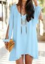 Sky Blue Plain Irregular Split Sleeve V-neck Chiffon Dress