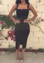 Black Plain Slit Square Neck Cotton Blend Midi Dress