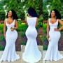 White Plain V-neck Sleeveless Evening Party Maxi Mermaid Dress For Women