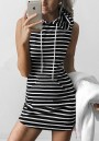 Black Striped Drawstring Pockets Hooded Sleeveless Mini Dress