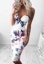 White Floral Condole Belt Plunging Neckline Sleeveless Midi Dress