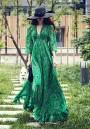 Green Floral V-neck 3/4 Sleeve Vintage Bohemian Sand Beach Chiffon Maxi Dress
