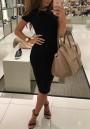 Black Plain Round Neck Short Sleeve Fashion Midi Dress