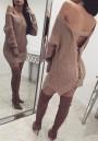 Khaki Plain Cut Out Drawstring Round Neck Long Sleeve Mini Dress