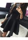 d7a8db38cab Black Pleated Round Neck Half Sleeve Homecoming Cute Skater Mini Dress