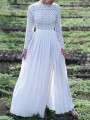 White Patchwork Lace Side Slit Round Neck Elegant Maxi Dress