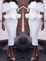 72c778c7320 Mi-longue robe peplum col bateau à volantée moulante élégant de soirée  partie blanc