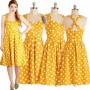 Yellow Polka Dot Print Cross Back Audrey Hepburn Style Vintage Midi Dress
