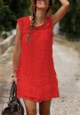 Red Patchwork Hollow-out Lace Tassel Double-deck Fashion Mini Dress