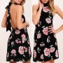 Black Flowers Print Tie Back Draped Band Collar Halter Neck Mini Dress