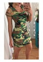 Army Green Camouflage Hollow-out Short Sleeve Fashion Mini Dress