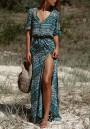 Blue Floral Single Breasted Drawstring Side Slit Maxi Dress