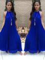 Purplish Blue Pleated Tie Back Sleeveless Halter Neck A-line Bohemian Maxi Dress