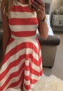 Red-White Striped Draped A-line Sleeveless High Waisted Elegant Midi Dress