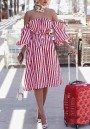 Red Striped Off Shoulder Backless Sashes Bandeau Lantern Sleeve Homecoming Party Midi Dress