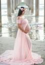 Pink Bandeau Draped Backless Front Slit Off Shoulder Maternity Maxi Dress