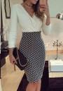 White Mosaic Print V-neck Fashion Midi Dress