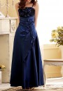 Blue Patchwork Condole Belt Irregular Sashes Boat Neck Sleeveless Elegant Maxi Dress