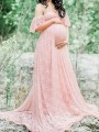 Pink Floral Lace Bandeau Pleated Off Shoulder Floor Length Maternity Maxi Dress