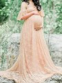 Apricot Floral Lace Bandeau Pleated Off Shoulder Floor Length Maternity Maxi Dress