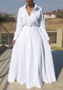 White Draped Buttons Pockets Turndown Collar Long Sleeve Casual Maxi Dress