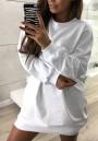 White Round Neck Long Sleeve Casual Mini Dress