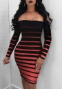 Black And Red Striped Boat Neck Long Sleeve Bodycon Mini Dress