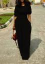 Black Draped Pockets Round Neck Elbow Sleeve Maxi Dress