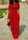 Red Draped Pockets Round Neck Elbow Sleeve Maxi Dress