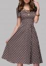 Brown Polka Dot Zipper Prom Evening Party Tutu Midi Dress