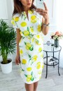 Yellow lemon Floral Drawstring Irregular V-neck Casual Midi Dress