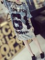 Silver Patchwork Sequin Round Neck Club Party T-shirt Mini Dress