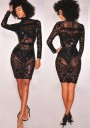 Black Patchwork Sequin Grenadine Glitter Clubwear Bodycon Party Midi Dress
