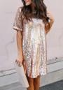 Rose Golden Sequin Round Neck Short Sleeve Party Midi Dress