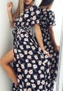 Black Floral Print Irregular Sashes Plunging Neckline Short Sleeve Maxi Dress