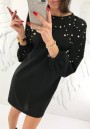 Black Patchwork Beading Round Neck Long Sleeve Casual Mini Dress