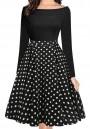 Black-White Polka Dot Draped Pockets Off Shoulder Tutu Party Midi Dress
