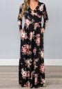 Black Floral Draped Pockets V-neck Long Sleeve Casual Maxi Dress