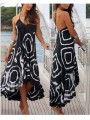 Black Irregular Spaghetti Strap Backless High-low Lace-up Casual Maxi Dress