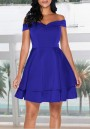 Blue Pleated Off Shoulder Backless Tutu Party Mini Dress