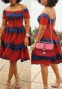 Red-Blue Striped Pleated Off Shoulder Backless High Waisted Party Midi Dress