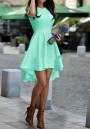 Light Green Irregular Ruffle Round Neck Party Midi Dress