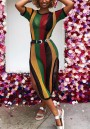 Green Striped Rainbow Cut Out Netted Thigh High Side Slits Sheer Clubwear Party Midi Dress