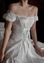 White Lace Drawstring Ruffle Round Neck Vintage Mini Dress