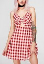 Red Plaid Cut Out Spaghetti Strap Backless Deep V-neck Party Cute Mini Dress